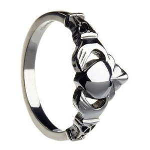 China Sterling Silver & Trinity Knot Cuffs Large Ladies Claddagh Ring 8.6mm on sale