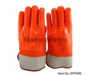 China 3 layers liner(interlock,sponge,jersey) full coated orange fluorescent PVC,safety cuff on sale