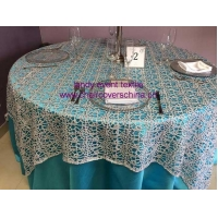 238Silver macrame table cloth