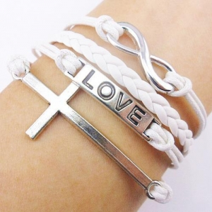 China Bangles & Bracelets Love & Cross Leather Charm Bracelet on sale