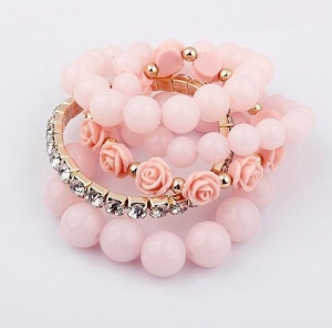 China Bangles & Bracelets Rose Multilayer Elastic Round Bead Bracelet on sale
