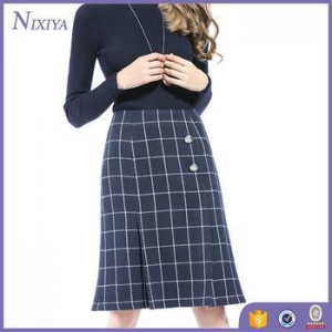 China Knee Length Check Print Office Winter Skirts Designs Women 2016 on sale