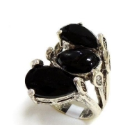 Hematite Plating Rings Black Onyx and Black Glass Stone Ring M-32737R