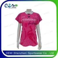 China Short sleeve pink custom rugby jerseys on sale
