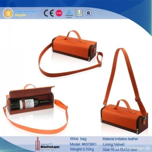 China Unique design wholesale reusable wine bag in box with shouder leather belt on sale