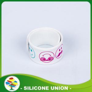 China Boys fashion Printed Smile Silicone Slap Ruler Bracelet on sale