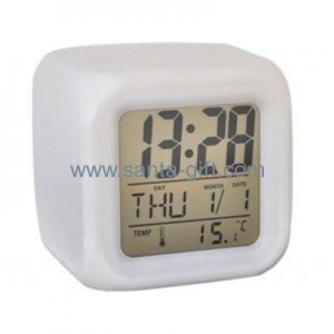 China New Square Digital Desk table alarm clock daily alarms change color watch Clocks S12000 on sale