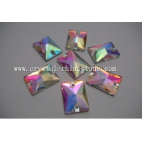 China rectangle crystal ab sew on glass rhinestone on sale