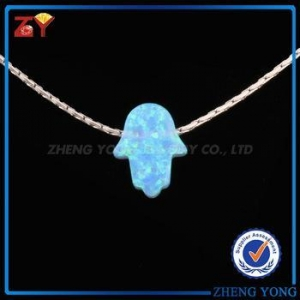 China 2017 hot sale blue hamsa opal silver jewelry, 925 sterling silver jewelry on sale