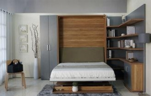 China Queen and King Wood Modern Wall Bed , Bedroom Contemporary Murphy Bed Furniture on sale
