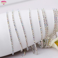 China Crystal AB diamante rhinestone chain SS8 2.5mm close rhinestone cup chain on sale