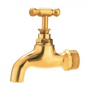 China Brass golden color water tap brass bibcock on sale