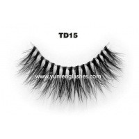 Private Label Mink Fur Strip Eyelashes Best Invisible Band Lashes TD15