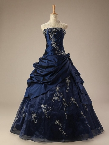 China Embroidery Navy Quinceanera Ball Gown Dresses Available in Turquoise Colour QD1608 on sale