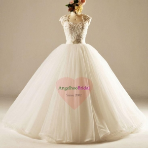 China Princess Tulle Ball Gown Wedding Dresses with Vintage Beaded Lace Bodice WD1508 on sale