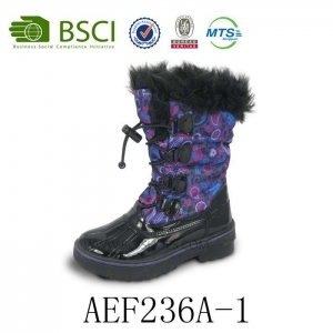 China Wholesale Lace-up Fur Fashion Waterproof Warm Winter Snow Boot for Women on sale