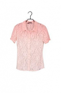 China Ladies′ Summer Lace Short Sleeve Fashion Design Top Blouse In Gradient Pink Color on sale