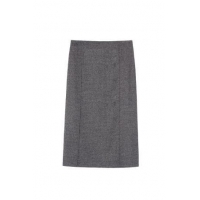 High Waisted Mid-length Gray Textured Pencil Skirt With Back Vent Detail Factory