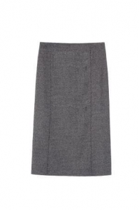 China High Waisted Mid-length Gray Textured Pencil Skirt With Back Vent Detail Factory on sale