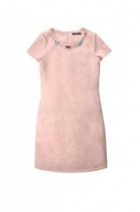 China Short Sleeve Pink Midi Pencil Dress With Silver Chain And Colorful Rhinestone In The Neckline on sale