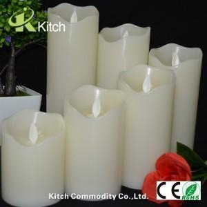 China 3D pillar flameless led candles with remote on sale