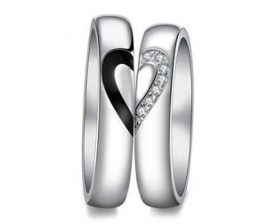 China Cheap Couple's Matching CZ Promise Rings Set for Him and Her in Sterling Silver on sale