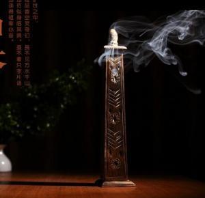 China wIH06 Indian Wooden Incense Stick Holder Tower Burner on sale