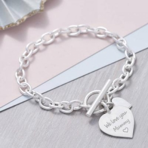 China Personalised Solid Sterling Silver Heart Bracelet on sale