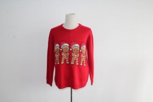 China Ugly Christmas Sweater With Four Gingerbread Men on sale