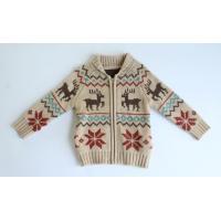 Boys Deer Jacquard Zip- Front Cardigan Sweater