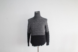 China Gradient Color High Roll Collar Knitted Sweater on sale