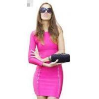 Pink Bandage Off The Shoulder Dress , One Shoulder Bodycon Dress Long Sleeve