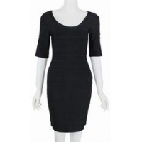 China Beautiful Half Sleeve Bandage Dress , Tight Black Dress With Sleeves on sale