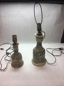 China 2 pcs Vase Antique pottery Ceramic Porcelain Crackle painted heavy animal lamp on sale