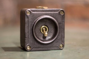 China VINTAGE INDUSTRIAL 1 WAY CRABTREE LIGHT SWITCH TOGGLE BRASS CAST IRON!! on sale