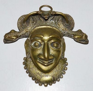 China ANTIQUE BAMILEKE CAMEROON BRASS HIP FACE MASK SNAKES EATING FROG TRIBAL AFRICAN on sale