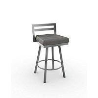 Amisco Amisco Derek Swivel Counter Stool 26 in., Magnetite Frame - Cloud Fabric Seat, Metal