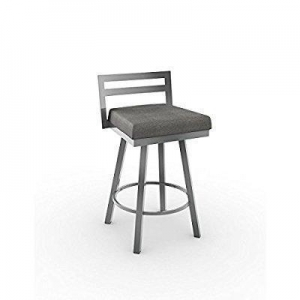 China Amisco Amisco Derek Swivel Counter Stool 26 in., Magnetite Frame - Cloud Fabric Seat, Metal on sale