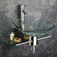 China Bathroom Glass Vessel Sink & Vanity + Faucet kk05 on sale