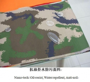 China functional cotton fabric001 Nano-tech Tri-proof including Oil-resist, Water repellent and Anti-soil on sale