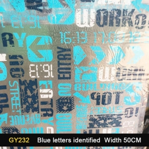 China 2016 Greater Wind GY232 Blue Letters Identified Water Transfer Printing Film Width 50cm on sale