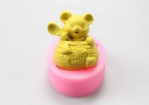 China Lovely Bear Flexible Custom Silicone Molds For Soap Anti - Dust 10.5*8.5*3.8cm on sale