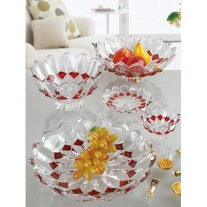 China Colorful quality crystal glass fruit bowl tray on sale