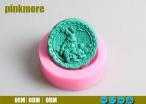 China Pink Round Silicone Baking Molds , Silicone Fondant Molds 9.7*9.7*3.5CM on sale