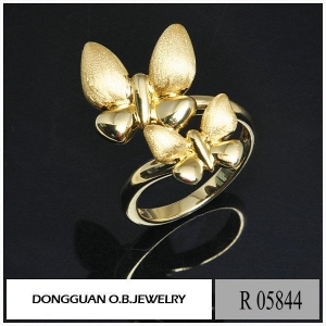 China R5844 Double Butterfly 925 Silver 14k Gold Plated Jewelry on sale