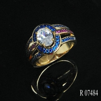 China R7484 925 Sterling Silver Jewelry Fashion Big Stone Ring on sale