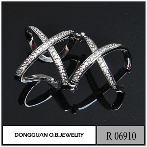 China R6910 Fashion Movable Cheap Rhodium Plated Double Ring on sale