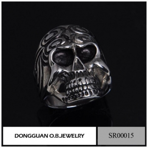 China SR0015 316l Stainless Steel Skull Ring on sale