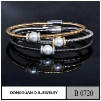 B720 Brass Material Two Tone Plated Diamond Cluster Bangle With Pearl