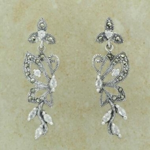 China Classic Jewellery E1265 Marcasite & Cz Earring on sale